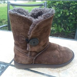 UGG Brown Suede Wool Lined Boots Size 6